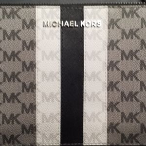 Michael  Kors Stripe zip pouch